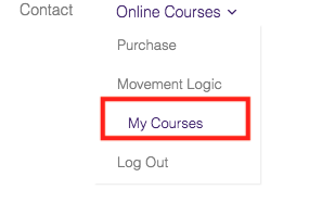 Site menu with My Courses menu item highlighted